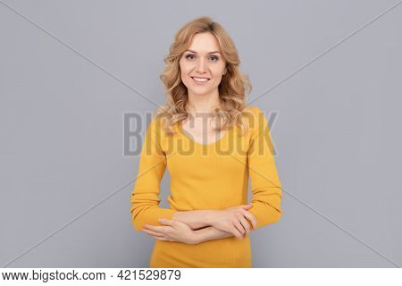 Blonde Woman Beauty. Blond Woman Portrait. Express Positive Emotions.