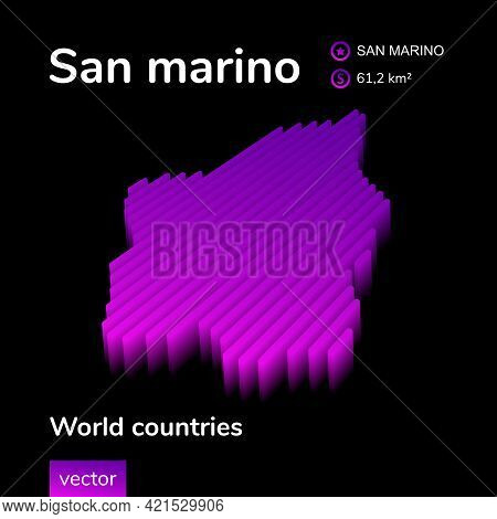 Stylized Neon Digital Isometric Striped Vector San Marino Map With 3d Effect. Map Of San Marino Is I
