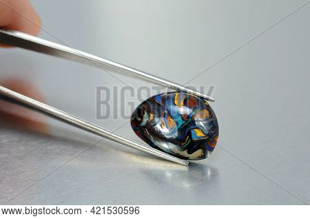 Natural Australian Boulder Opal. Green Blue Veins In Brown Matrix. Irregular Shape Holded In Tweezer