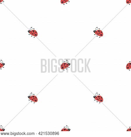 Seamless Summer Background. Flying And Creeping Flat Red Ladybugs Pattern On White Background. Brigh
