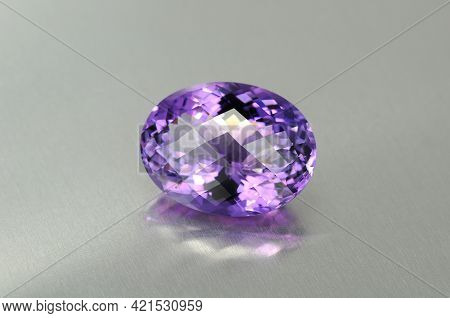 Natural Uruguay Amethyst Gemstone. Oval Checker Faceted, Big Size Violet Or Purple Color Loose Cryst