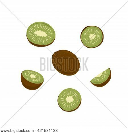 Large Set Of Juicy Green Kiwi Fruits On A White Background. Whole And Cut Pieces.