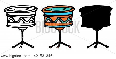 Vintage Flat Set With Doodle Drum. Vector Drawing. Vector Graphic. Vector Outline Illustration.vecto