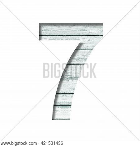 Font On Old Boards. The Digit Seven, 7 Cut Out Of Paper On A Rustic Wall Of Old Boards With Blue Pai