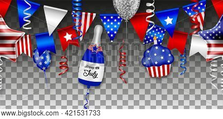 American Independence Seamless Banner With Balloons, Streamers And Pennants