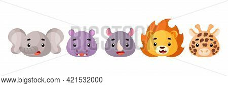 Cute African Animals Heads Set. Collection Funny Animals Characters For Kids Cards, Baby Shower, Bir