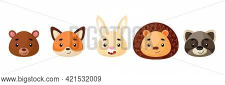 Cute Woodland Animals Heads Set. Collection Funny Animals Characters For Kids Cards, Baby Shower, Bi