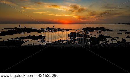 Panoramic Coastal Sunset Scene Montevideo Uruguay