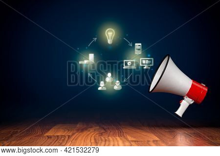 Content Marketing And Communication Concept With Megaphone. Cycle Of Creating, Publishing, Distribut