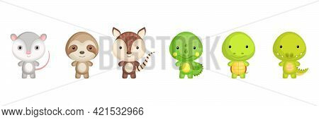 Collection Of Exotic Little Animals In Cartoon Style. Cute Animals Characters For Kids Cards, Baby S
