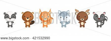 Collection Of Woodland Little Animals In Cartoon Style. Cute Animals Characters For Kids Cards, Baby