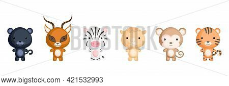 Collection Of African Little Animals In Cartoon Style. Cute Animals Characters For Kids Cards, Baby