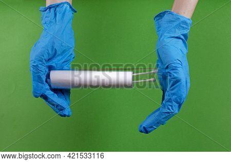 Hands With Medical Gloves Holding Cotton Swabs  Sample Inside Transparent Glass Test Tube