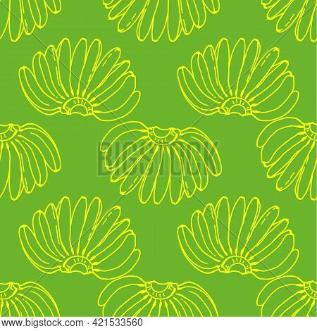 Vector Seamless Pattern Of A Bunch Of Bananas.tropical Fruit Pattern A Bunch Of Bananas Drawn In A S
