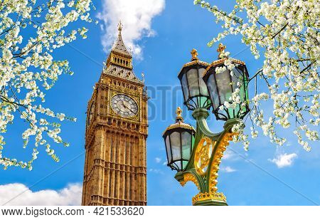 Big Ben Tower And Westminster Street Lamp In Spring, London, Uk