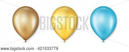 Birthday Balloons Vector Set. Golden Balloon For Celebration, Party And Wedding. Celebrate Anniversa