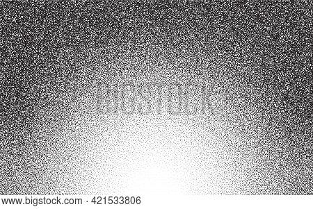 Dotwork Gradient Pattern Vector Background. Black Noise Stipple Dots. Sand Grain Effect. Black Dots