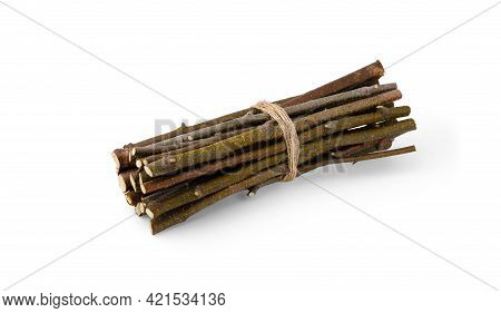 Thin Dry Birch Branches And Sticks For Lighting A Fire Are Tied With A Jute Rope In A Tight Bundle A