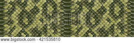 Python Skin Texture. Green Tone Colors Snake Pattern, Ornament For Textile Fabric. Animal Print. Art