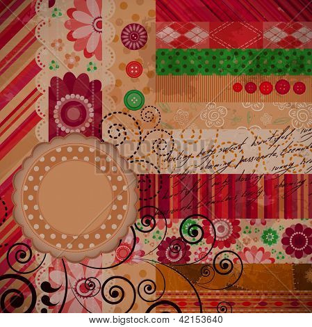 Scrap background made in patchwork technique.