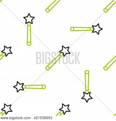 Line Magic Wand Icon Isolated Seamless Pattern On White Background. Star Shape Magic Accessory. Magi
