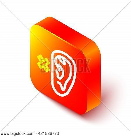 Isometric Line Deafness Icon Isolated On White Background. Deaf Symbol. Hearing Impairment. Orange S
