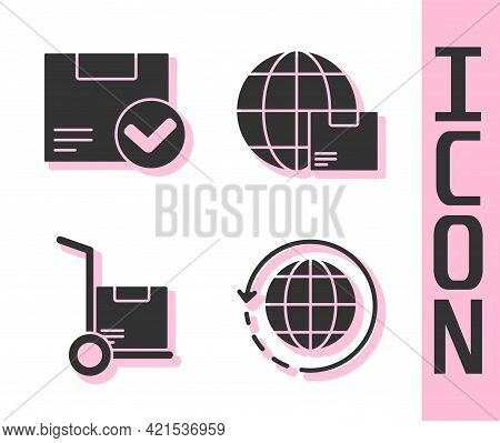 Set Worldwide Shipping And Box, Package Box With Check Mark, Hand Truck And Boxes And Worldwide Ship