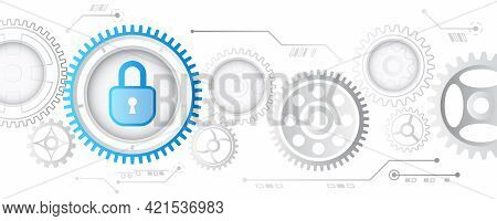 Cybersecurity Web Banner. Shield Icon With Gears On A Blue Background. Data Security Concept Design