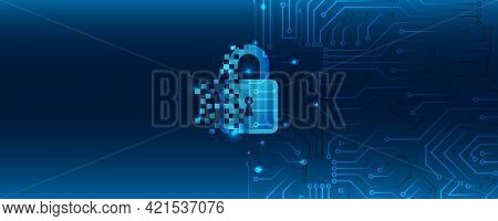 Data Security Concept Design For Personal Privacy. Digital Data Network Protection. Padlock With Key
