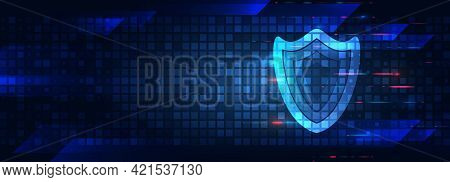 Digital Background Innovative Technologies In Security Systems. Shield Icon Future Concept. Data Pro