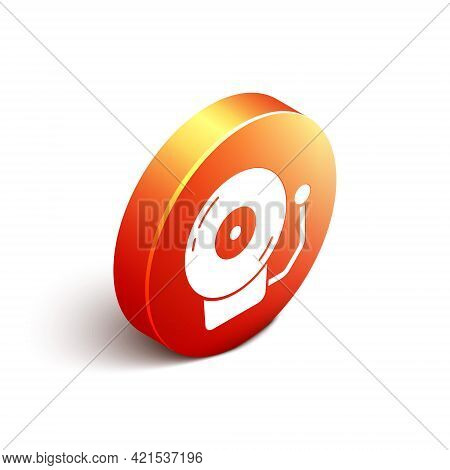 Isometric Ringing Alarm Bell Icon Isolated On White Background. Alarm Symbol, Service Bell, Handbell