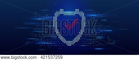 Data Protection On The Internet. Web Banner Cyber Security. An Image Of A Shield Icon Made Of Dots.