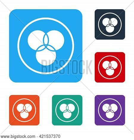 White Rgb And Cmyk Color Mixing Icon Isolated On White Background. Set Icons In Color Square Buttons