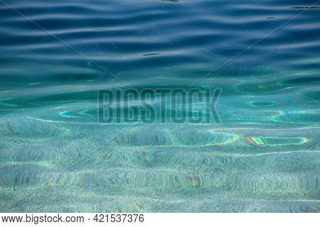 Sea Water Near Beach Natural Background , White Stone Pebble Beach In Croatia Sumartin Brac Island P
