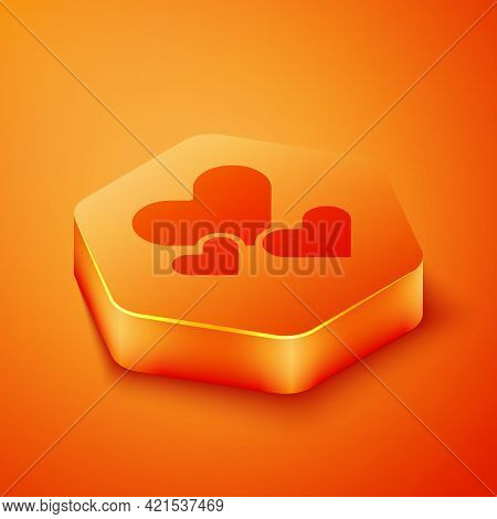 Isometric Heart Icon Isolated On Orange Background. Romantic Symbol Linked, Join, Passion And Weddin
