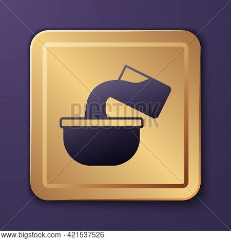 Purple Saucepan Icon Isolated On Purple Background. Cooking Pot. Boil Or Stew Food Symbol. Gold Squa