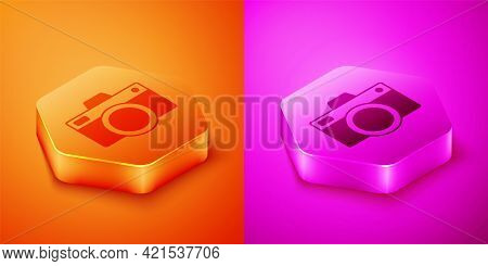 Isometric Photo Camera Icon Isolated On Orange And Pink Background. Foto Camera Icon. Hexagon Button