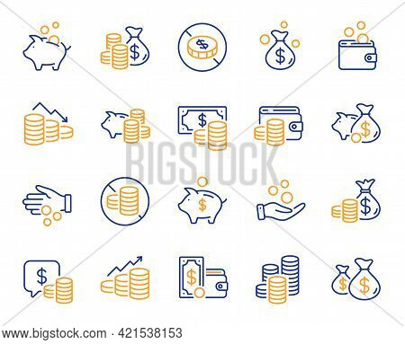 Coins Line Icons. Cash Money, Donation Coins, Give Tips Icons. Piggy Bank, Business Income And Loan.