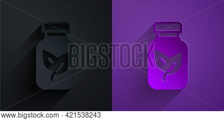 Paper Cut Fertilizer Bottle Icon Isolated On Black On Purple Background. Paper Art Style. Vector
