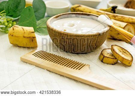 Homemade Banana Cosmetics. Cosmetic Face Mask With Banana, Oatmeal, Honey, Yolk. Natural Skin Care,