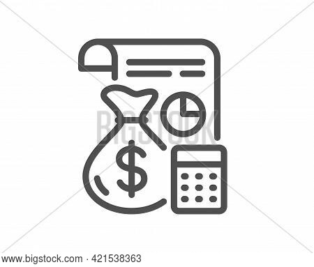 Accounting Line Icon. Finance Management Sign. Business Economy Symbol. Quality Design Element. Line
