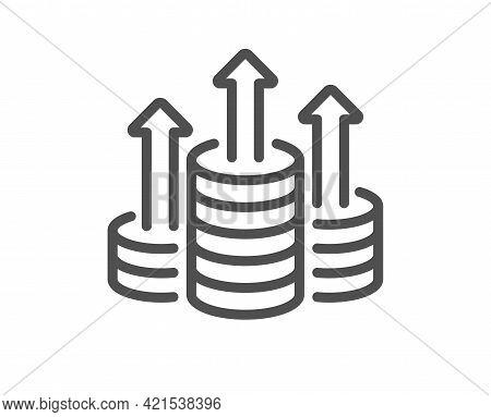 Budget Line Icon. Money Gain Sign. Cash Coin Profit Symbol. Quality Design Element. Linear Style Bud