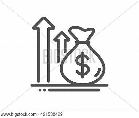 Budget Profit Line Icon. Money Loan Sign. Cash Profit Symbol. Quality Design Element. Linear Style B
