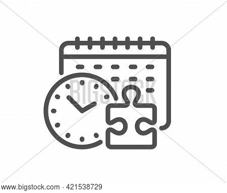 Puzzle Time Line Icon. Jigsaw Piece With Clock Sign. Business Challenge Symbol. Quality Design Eleme