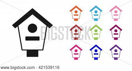 Black Bird House Icon Isolated On White Background. Nesting Box Birdhouse, Homemade Building For Bir
