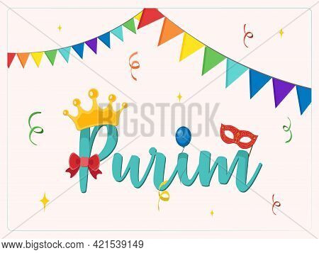 Design For Jewish Holiday Purim With Masks And Traditional Props. Vector Illustration - Vector Illus