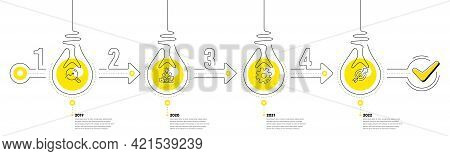 Infographic Timeline With Lamp Light Bulbs And Icons. 4 Steps Idea Journey Path Concept Of Business