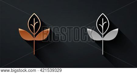 Gold And Silver Leaf Icon Isolated Gold And Silver Background. Leaves Sign. Fresh Natural Product Sy