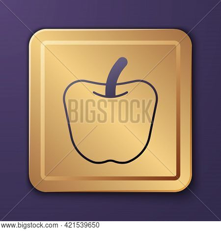 Purple Apple Icon Isolated Purple Background. Excess Weight. Healthy Diet Menu. Fitness Diet Apple.