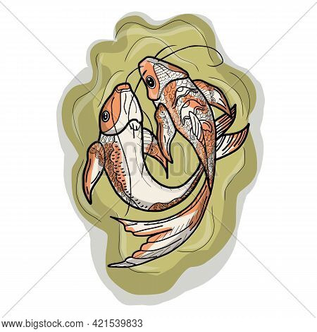 Two Koi Carps, With Red Spots. Asia Set Of Chinese Goldfish And Traditional Fishery Isolated Backgro